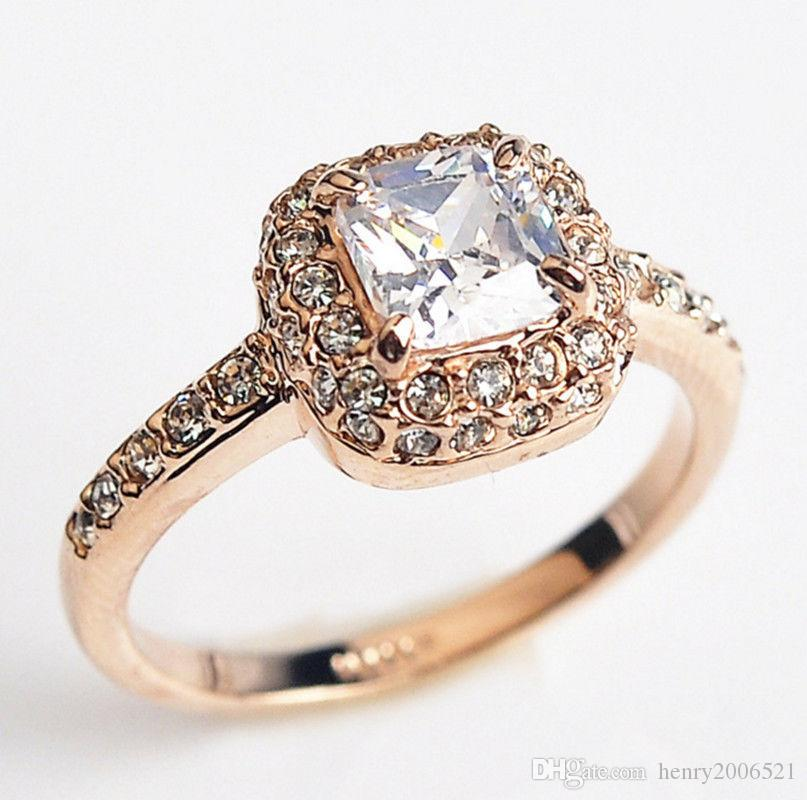 Classic Wedding Engagement 18K rose gold filled 3.75 ct Square Red Ruby ring size 8