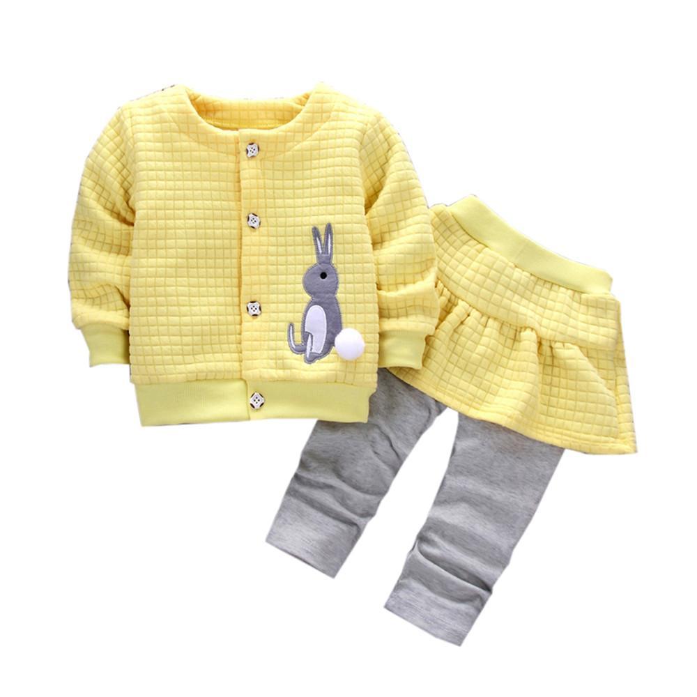 9e93220bbae3 2019 2018 Autumn Baby Girls Infants Cotton Rabbit Print Jacket Coats ...