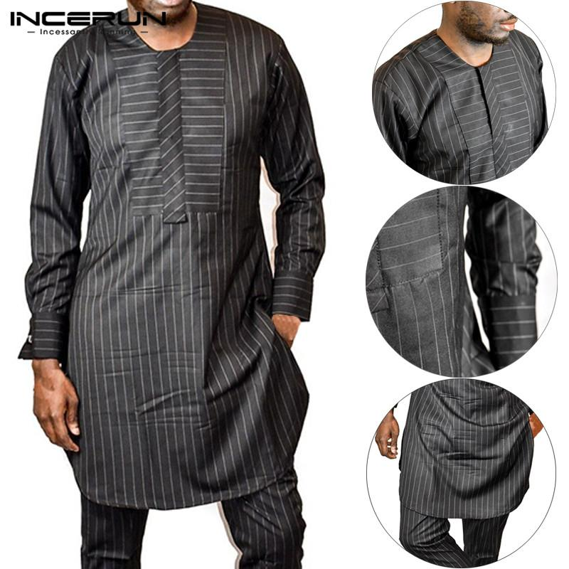 c5f51b7f10 INCERUN Abbigliamento da uomo africano Abbigliamento caftano a righe Manica  lunga casual O-Collo Camicia lunga maschile Autunno Dashiki Top africano ...