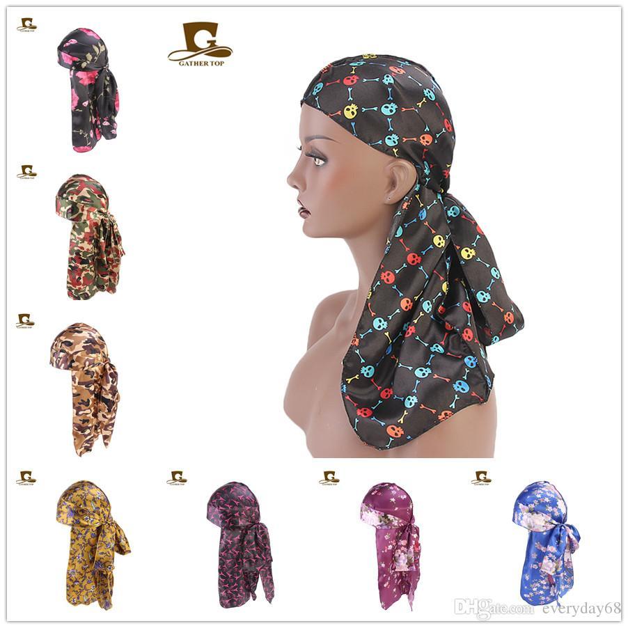 afea6eb9da3 Women Flower Skull Tower Silky Satin Durag Floral Print Bandanas Headwrap  Men Durag Wigs Turban Hat Doo Durag Biker Headband Pirate Hat Baby Hat  Crochet ...