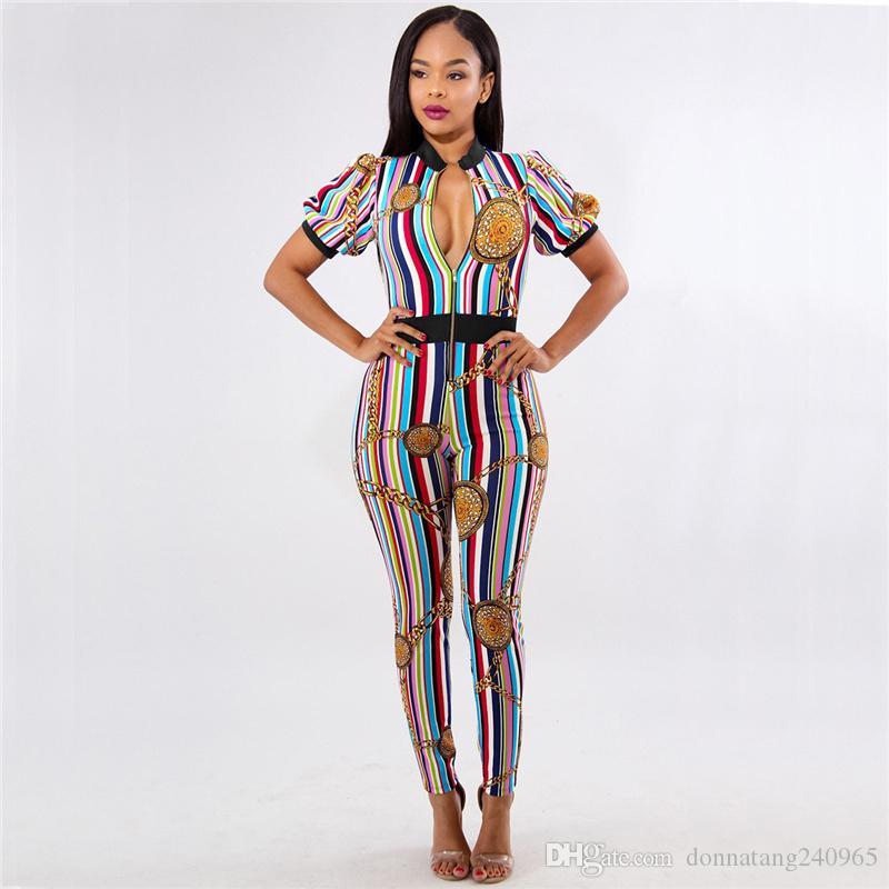여성 섹시한 짧은 소매 여름 Jumpsuits 랜턴 슬리브 신축성 숙녀 Rompers 다채로운 줄무늬 압축 스키니 Rompers의 오버올