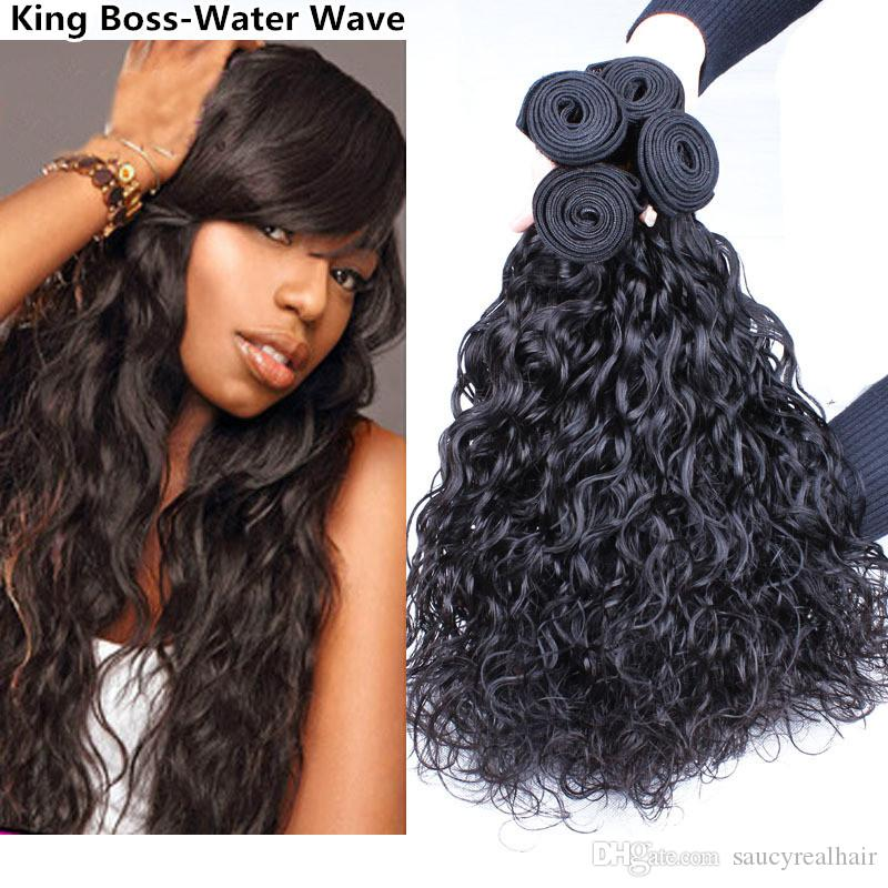 Water Wave Hair Weft Curly Weave Remy Brazilian Virgin Hair Wet and Wavy Malaysian Human Hair Extensions 4 Bundles Ocean Natural Wave Weave