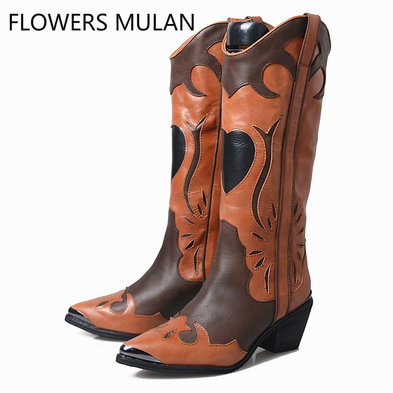 492e37bc209 Genuine Leather Patchwork Woman Knee High Boot Retro Brown Knight Boot Wide  Calf Western Boots For Women Long Boots Middle Heels
