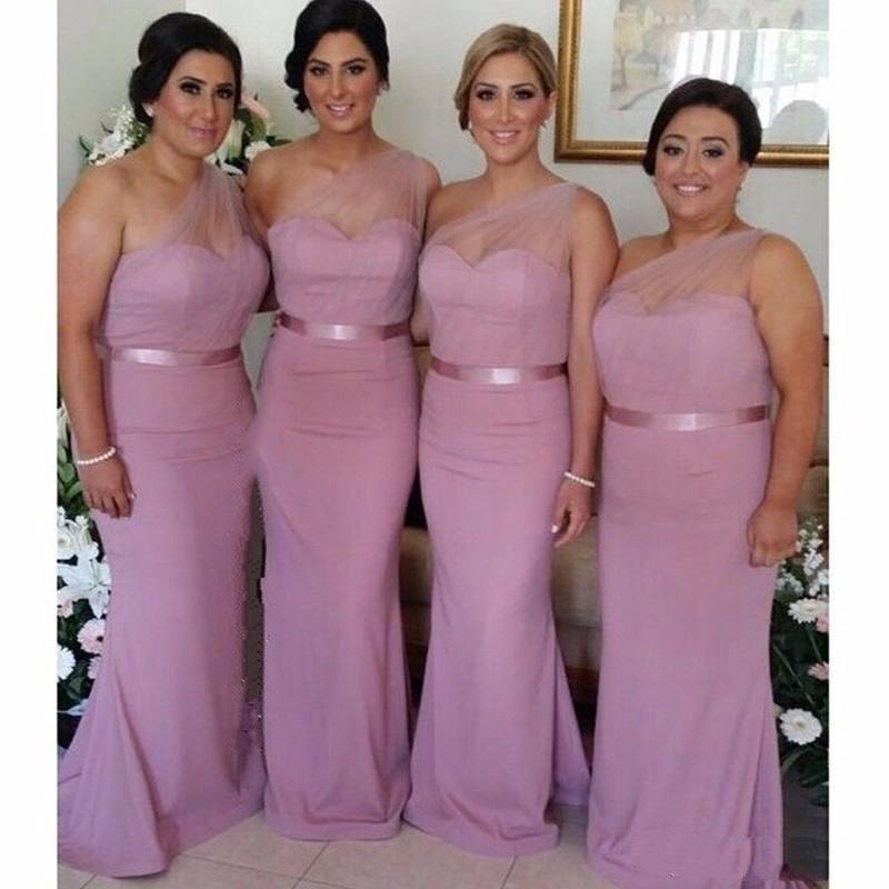 a73bb3fab Compre Vestido Sirena Rosa Pastel Vestido De Dama De Honor 2018 Vestido  Largo De Gasa Con Hombros Descubiertos Vestido De Novia De Tul Vestidos  Formales A ...