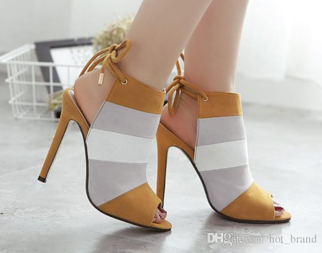 Mixed Color Ladies Sexy High Heel Sandals Prom Brand Shoes Woman Summer Sandals Seven Colored Fish-Mouth Sandals