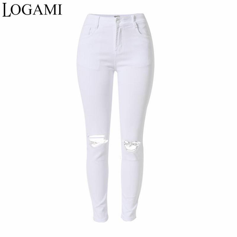 Pantalones Vaqueros Vaqueros Rasgados Mujeres De Lápiz LOGAMI Jeans Mujer Pantalones Cintura Delgados Compre Damas Skinny Blancos Alta Denim Para Pantalones AqTxpnfw