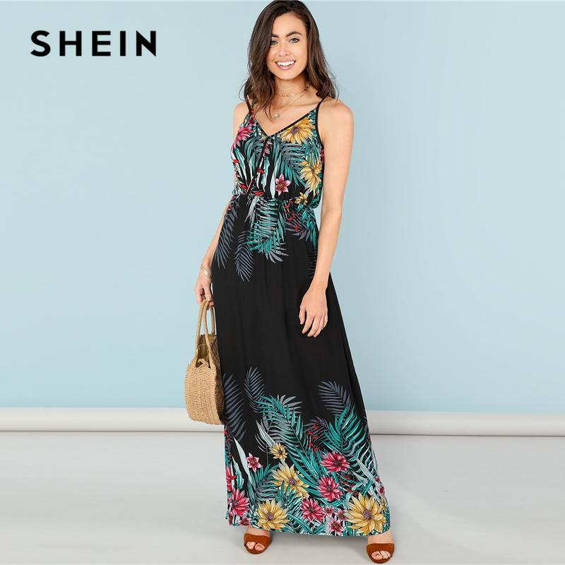 48ccf8b8040 SHEIN Multicolor Vacation Bohemian Beach Flower Print Wrap Front Cami High  Waist Maxi Dress Summer Women Weekend Casual Dresses Cute Dresses Red  Dresses ...