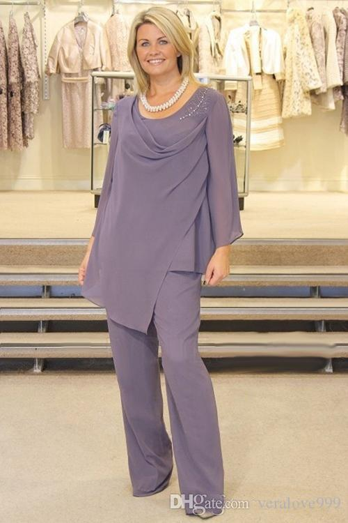 Plus Size Lavender Mother Of The Bride Pant Suits Long