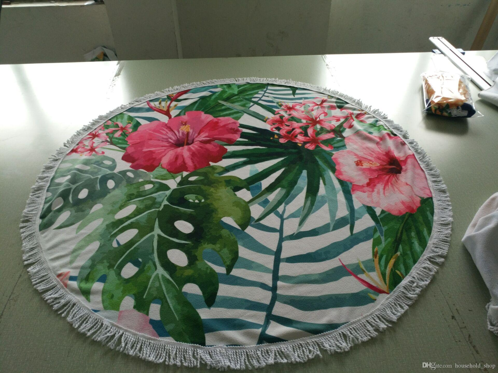 2018 Hot Sale Polyester Round Beach Towel Beach Blanket Round Beach Mat Tapestry Round Yoga Mat with Fringe Tassels