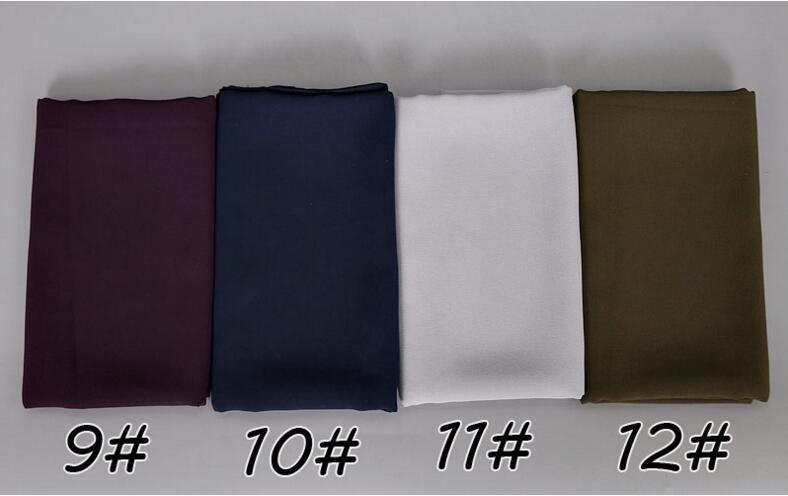 78 الألوان المسلمات النساء الحجاب والأوشحة 2018 بيع عالية الجودة بلون اللون العرقية اللؤلؤ الشيفون فقاعة وشاح 12 قطع