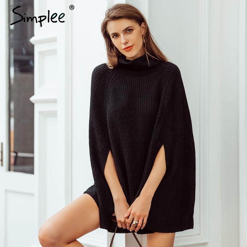 717c0612c840 Acheter Simplee Col Roulé Manteau Noir Pull Femme Pull Décontracté Automne  Hiver Femmes Pulls Et Pulls Streetwear 2018 De  39.34 Du Maoku