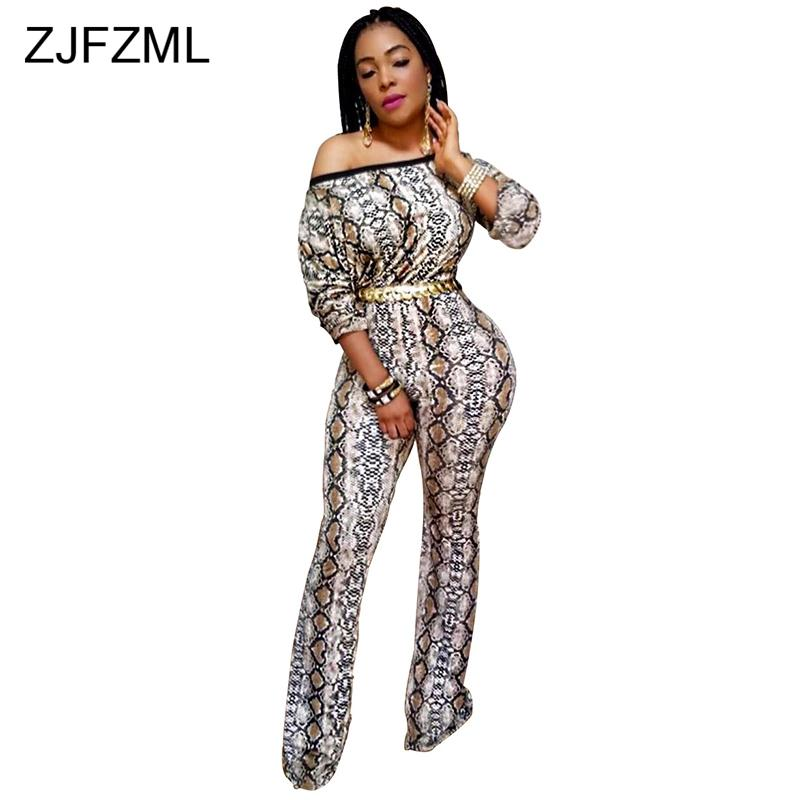 8dee512c9cf 2019 Snake Print Sexy Plus Size Overall For Women Slash Neck Long Sleeve Wide  Leg Jumpsuit Shoulder Backless Party Bodysuit From Braces