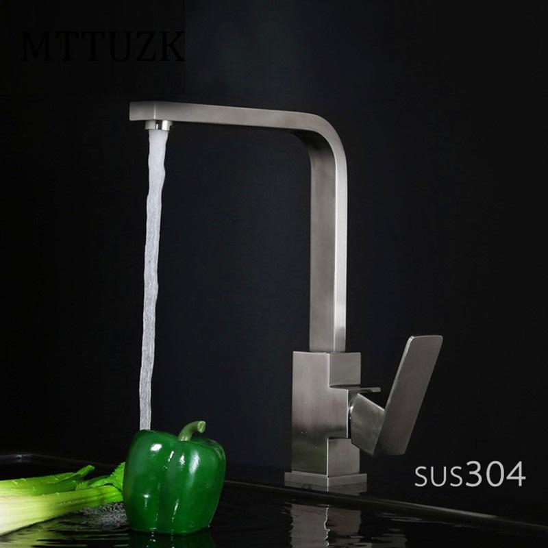 Square Kitchen Faucet | 2018 Mttuzk High Quality 304 Stainless Steel Wire Drawing Square