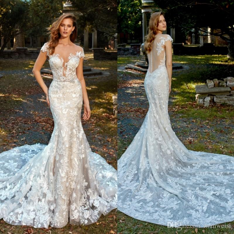 160ee224eb9b Eve Of Milady 2019 New Mermaid Wedding Dresses Short Sleeves Sheer Neck  Full Lace Appliqued Trumpet Bridal Gowns Plus Size Wedding Dress Weddings  Ball Gowns ...