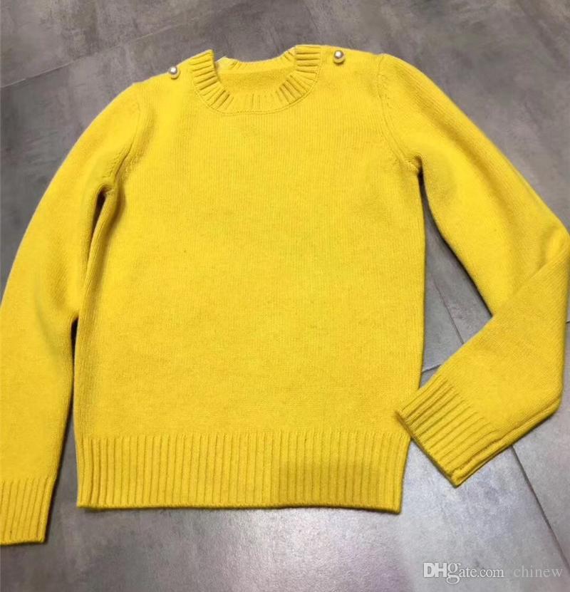 2018 Women Bright Yellow Sweaters Winter Autumn Outwear Long ...