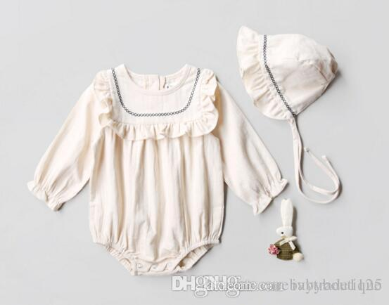 2413614ee559 2019 Ins New Euro Style Winter Autumn Baby Girl Round Collar Long Sleeve  Solid Color Ruffles Style Romper + Cap Baby Girl 100% Cotton Romper Sets  From ...