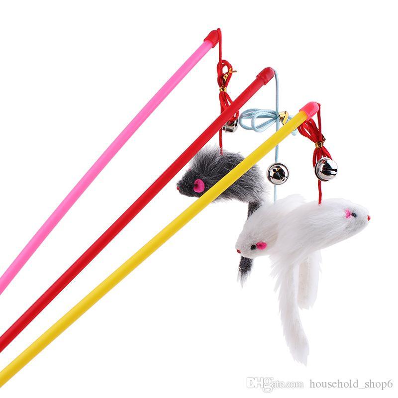 Dessin animé souris jouet de chat plume bâton teaser pour animaux de compagnie drôle jouer jouet interactif jouet pour animal de compagnie avec cloche