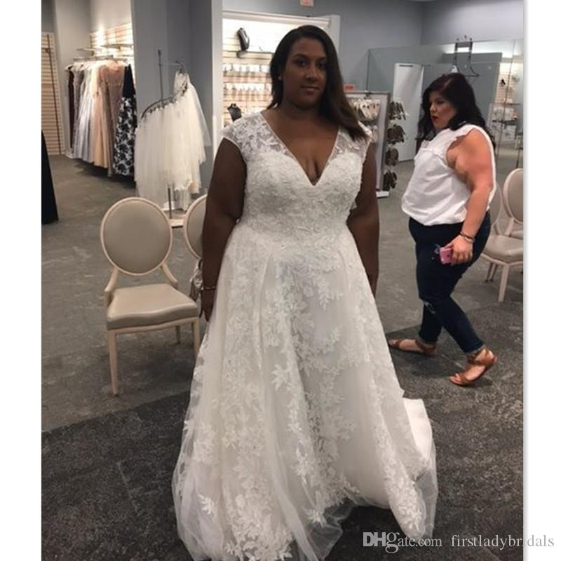 88b8f195d7e 2018 Plus Size Sexy V-neck Wedding Dresses Cap Sleeve A-line Lace ...