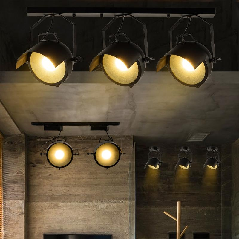 Loft Industrial hat/Cap shaped Ceiling Lamp Track Lights Bar Clothing Retro Track Lamp Vintage Absorb Dome Light LED spot Bulb