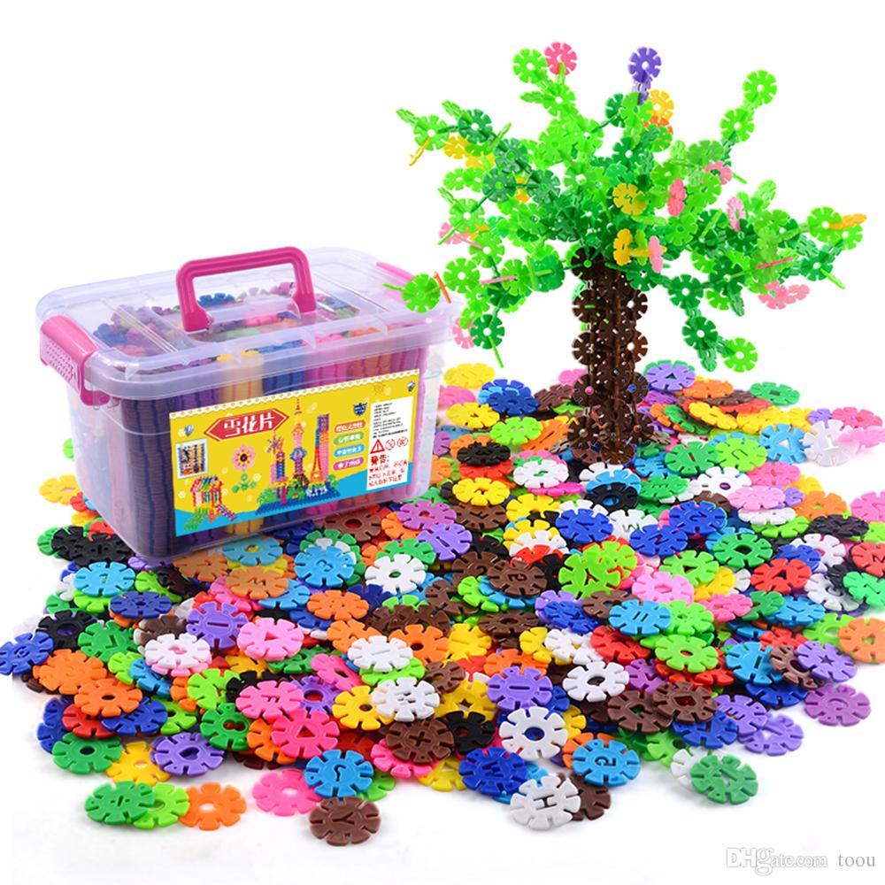 500 개 어린이 DIY 눈송이 벽돌 저장 상자 유치원 장난감 클래식 빌딩 블록 다른 색상 시트 벽돌 조립 장난감