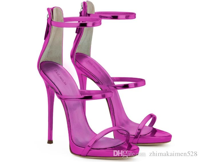 2018 new style high-heeled patent leather high-heeled shoes Super-heeled cylinder with sexy nightclub sandals