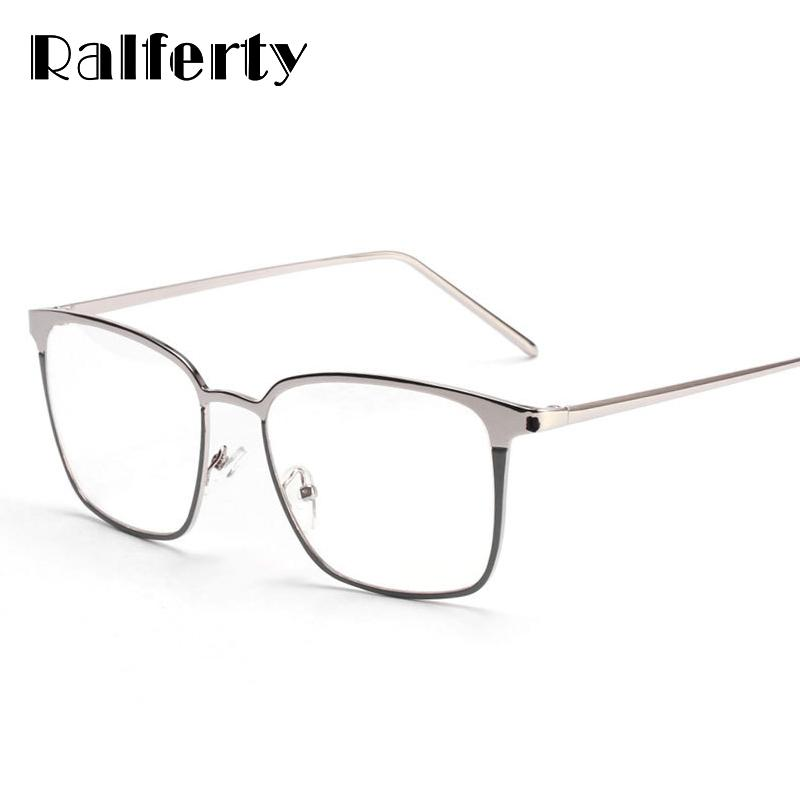5942e18d050 2019 Ralferty 2017 Square Glasses Frame Women Men Metal Eyeglasses Optical  Frames Eyewear Clear Lens Gold Silver Spectacles 3170 From Kuchairly