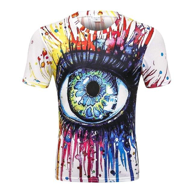 2018 New Fashion Womens / Mens Summer Eyeball Beast Divertido 3D Print Casual Manga corta Novedad Color ojos Camisetas TX39