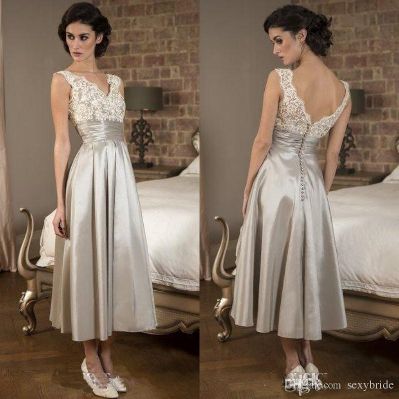 385adcd918ce Vintage Silver Tea Length Mother Of Bride Dresses Plus Size Lace V ...