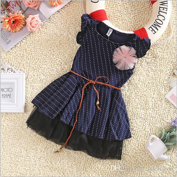 Fashion Children Baby Kids Girls 3-10 Age Casual Dot Sleeveless Dress kids flower Skirts Outfits Dress top quality