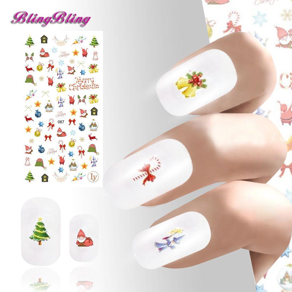 3d Xmas Snowman Nail Sticker Blue Snowflakes Merry Christmas Nail