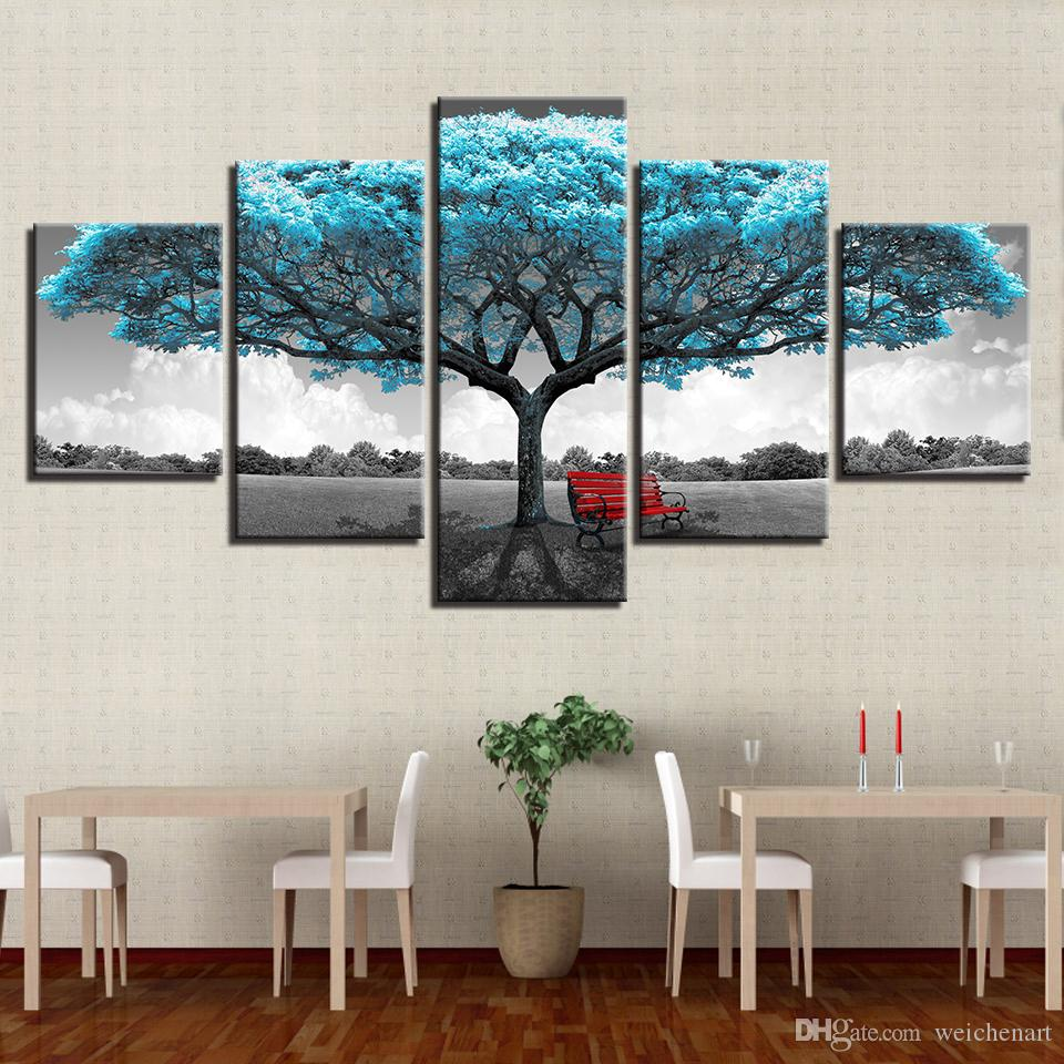 Canvas Prints Paintings Framework Living Room Decor Blue Big Tree Red Chair Pictures Abstract Landscape Poster Wall Art