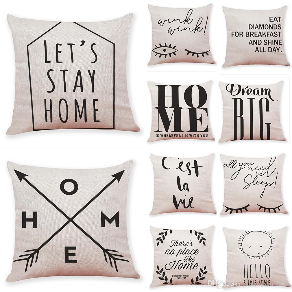 Decorative Pillows With Quotes Quotes And Sayings Linen Cushion Covers Home Office Sofa Square  Decorative Pillows With Quotes