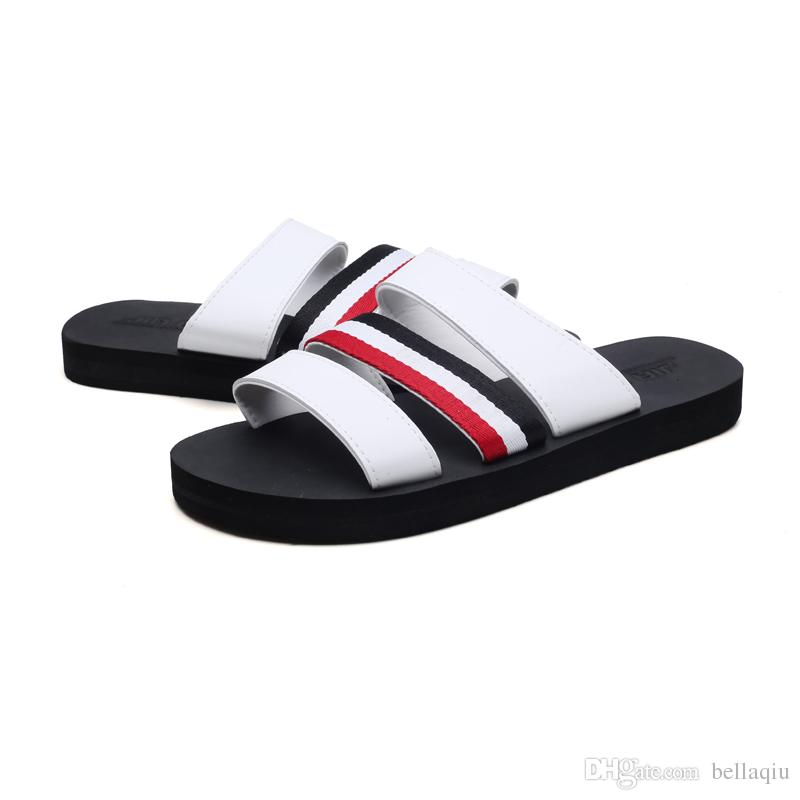 EuropUnited devletleri marka tasarımcısı terlik mensstriped sandalet nedensel kaymaz yaz huaraches terlik erkek kadın terlikler