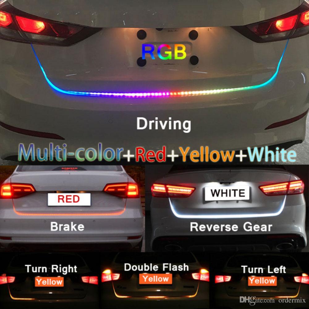 1.2 m 12 V RGB Tipo de flujo LED Car Tailgate Strip Impermeable Freno Conducción Luz de señal de giro Car Styling alta calidad
