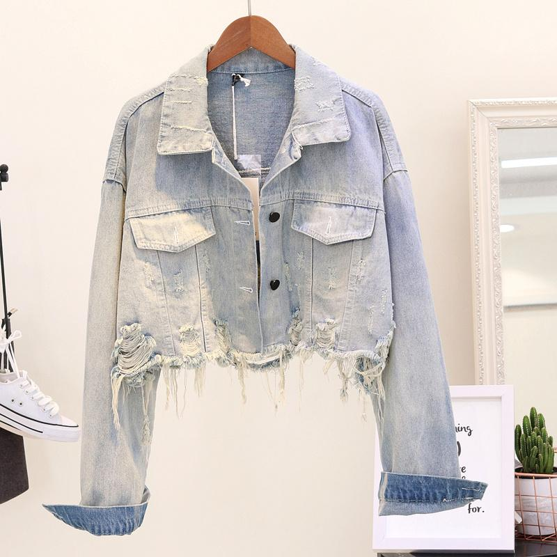 69490e3cd9731 2018 Women Cropped Jean Jacket Light Blue Bomber Short Denim Jackets  Jaqueta Casual Ripped Jeans Coat Nice Jackets Straight Jackets From  Layette66