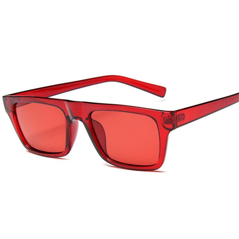 e0ca54bc1 Compre Retângulo Óculos De Sol Dos Homens Das Mulheres Designer De Marca Do  Vintage Flat Top Shades Óculos De Sol Feminino Masculino Vermelho Rosa  Preto ...