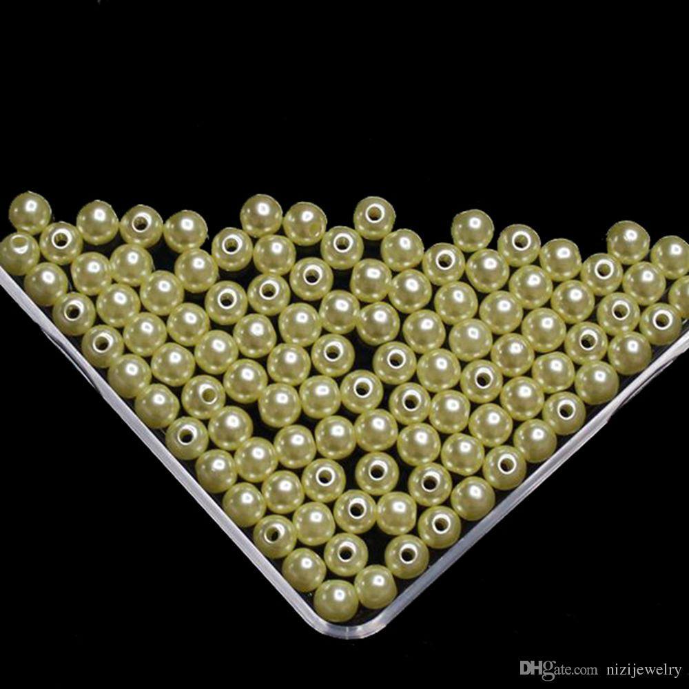 027df480a694 Compre Perlas De Perlas De Imitación Amarillas Claras Para La Fabricación  De Joyas Perlas De Perlas De Imitación Redondas De 8 Mm 10 Mm De Resina Con  El ...