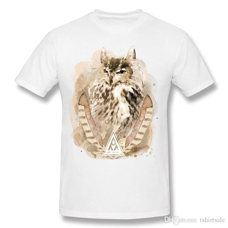 Man Cotton Ancient Owl T-Shirts Man Round Neck Green Short Sleeve T-Shirt Plus Size Printed On T-Shirts