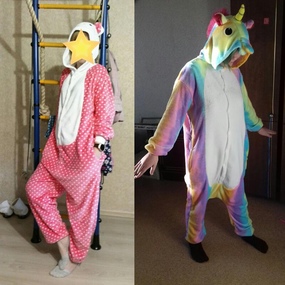 Adults Animal Unicorn Pajamas Set Panda Cartoon Kigurumi Women Men Winter Unisex Flannel stitch Pajamas unicornio Sleepwear