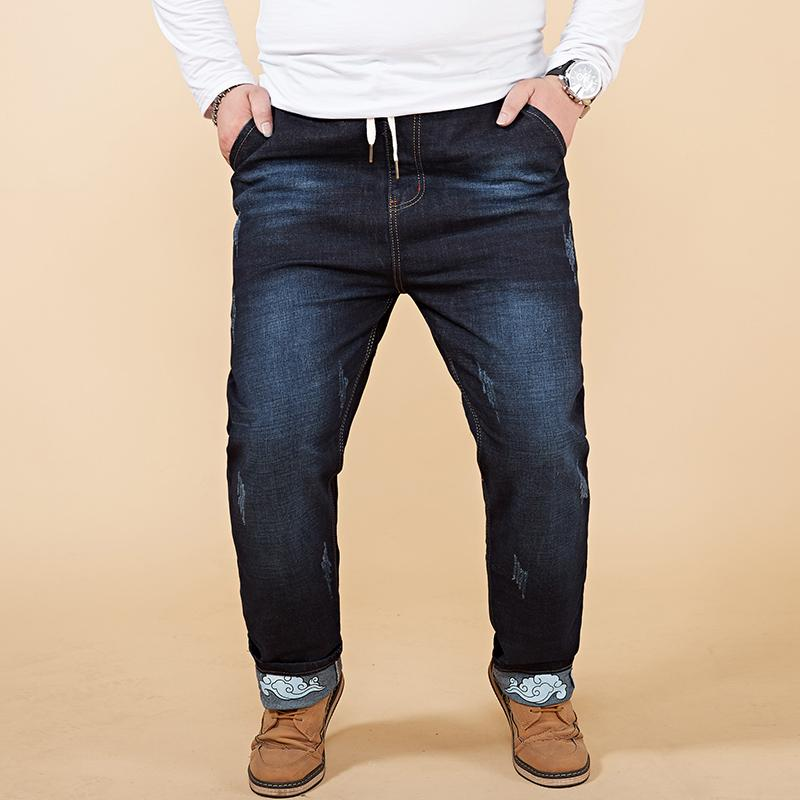 9ae56cd0fdc3c 2018 New Dark Blue Ripped Jeans Men With Embroidery Stretch Denim ...