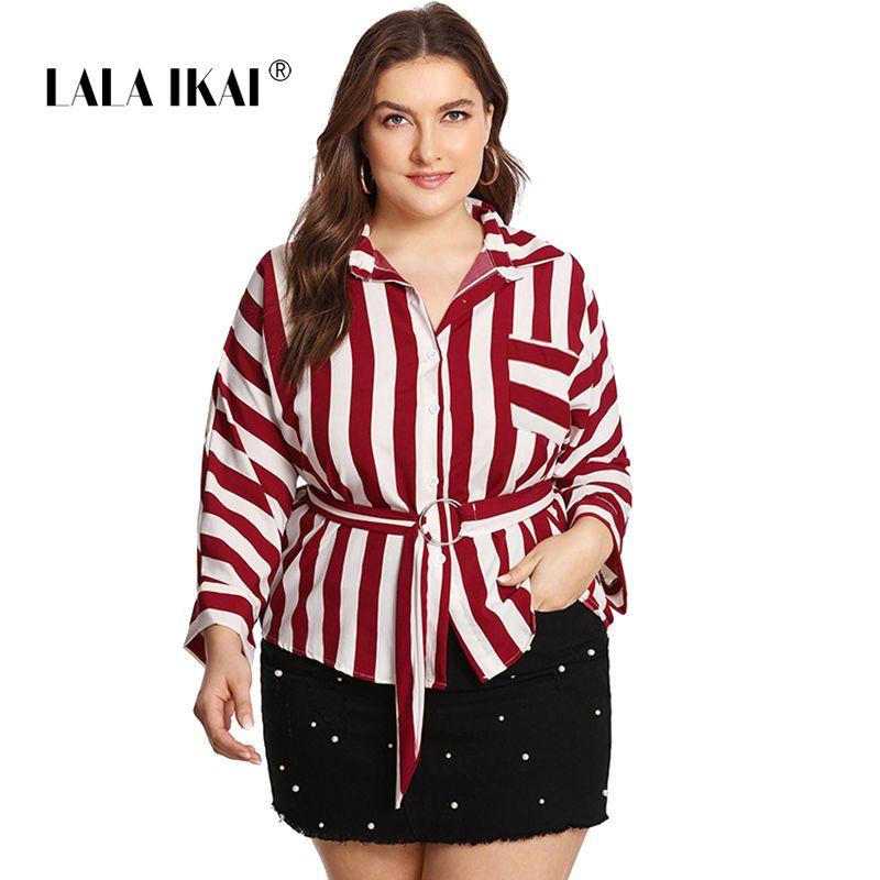 5dff1d88512f9d 2019 LALAIKAI Plus Size XL 2XL 3XL 4XL 5XL Blouse Women Ring Belt Pocket  Office White Red Striped Blouses Work Tee Shirts SWA1311 47 From  Eggplant18, ...