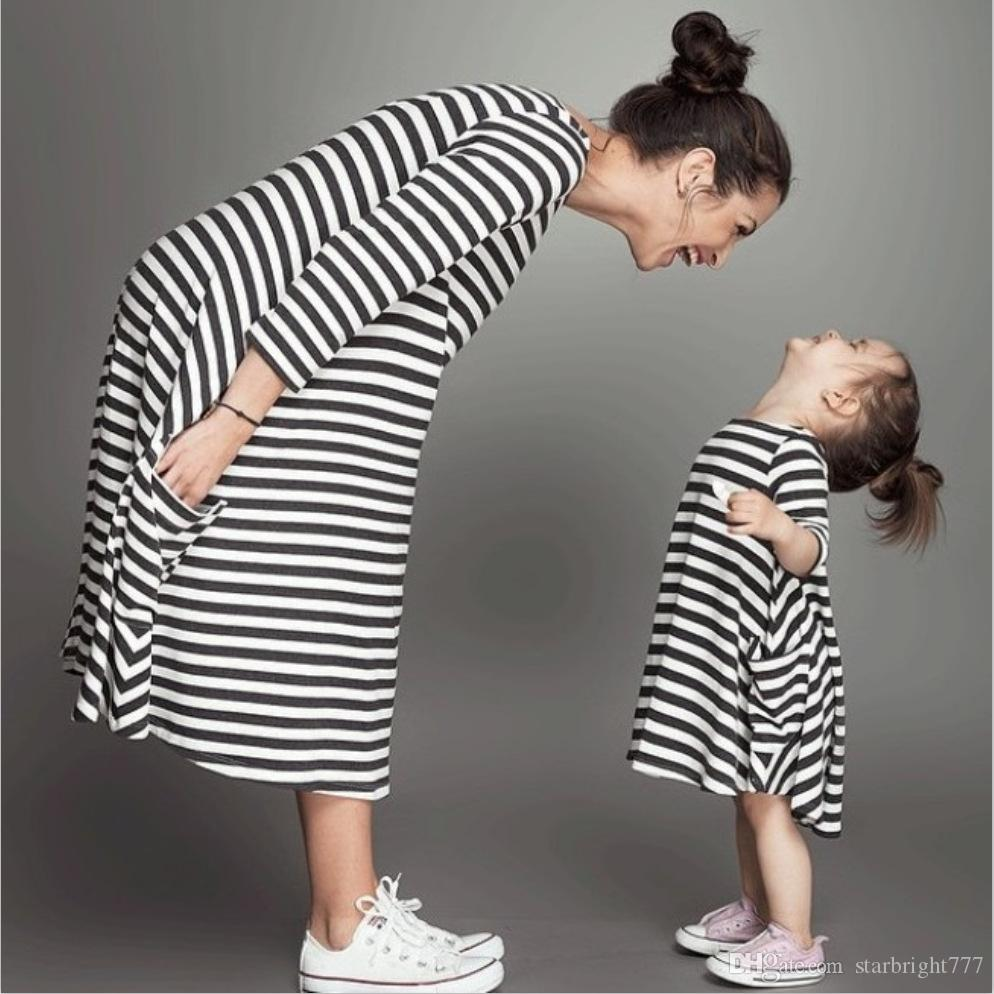 Mommy and me family matching mother daughter dresses clothes Patchwork mom and Girl dress kids parent child outfits