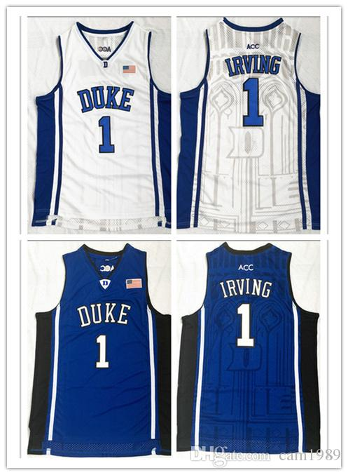 pretty nice 9ce7e 0b065 2018 Duke Blue Devils 1 Kyrie Irving Stitched embroidery basketball jerseys  for man size S- 3XL