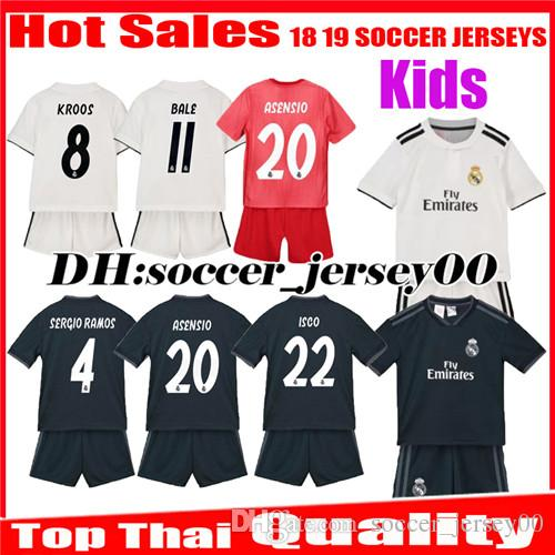 66220f3ea 2019 Kids 2018 2019 Real Madrid Soccer Jerseys 18 19 Home Away Third Boy  ISCO ASENSIO BALE KROOS Child 3rd Red Children Uniforms Football Shirts From  ...