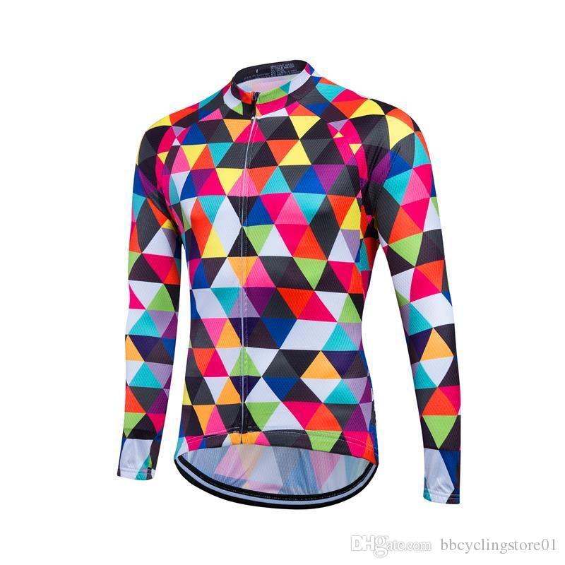 2018 Long Sleeve Cycling Jersey Men Top Cycling Shirts for Bike Wear Thin Outdoor Cycling Clothing for Summer Autumn Spring Bicycle Clothes