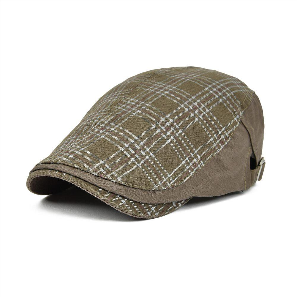 VOBOOM Brown Ivy Casual Berets Hats Unisex Summer Berets Caps For Men Women  Adjustable Brand Plaid Caps 026 Berets Cheap Berets VOBOOM Brown Ivy Casual  ... 34043cf4219