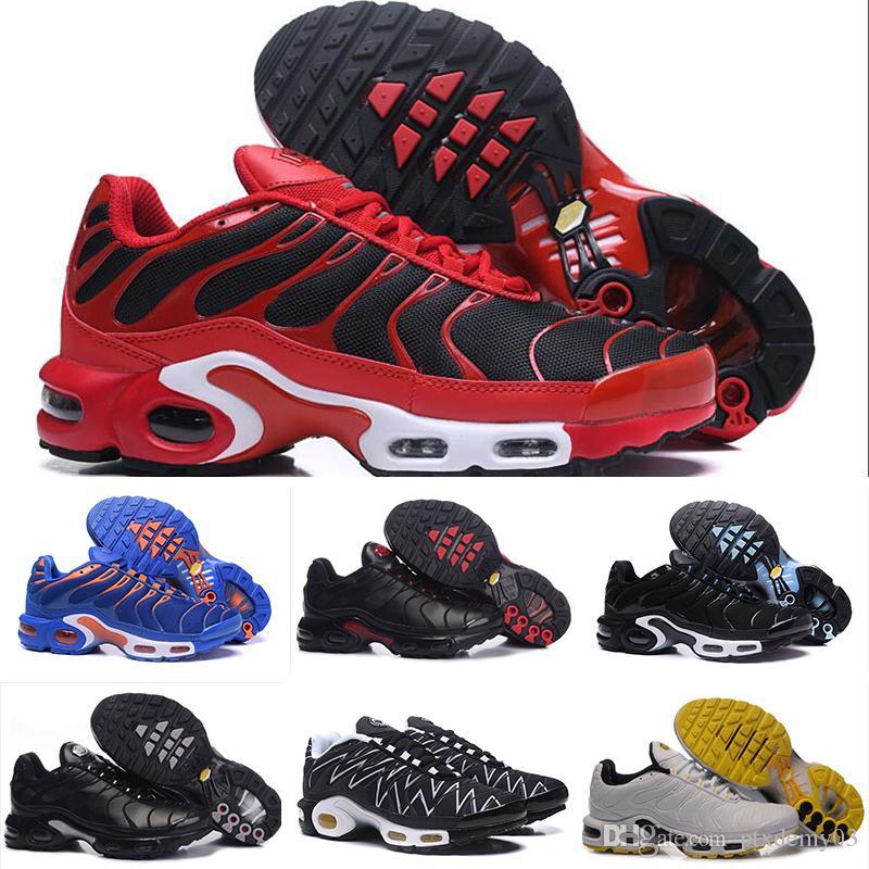the best attitude 71579 7ea1c Acheter Nike Air Max Tn Plus Running Shoes Nouveau 20181 TN Plus Hommes  Femmes Chaussures De Course Pour Homme Chaussure Olive Blanc Argent Noir  Colorways ...