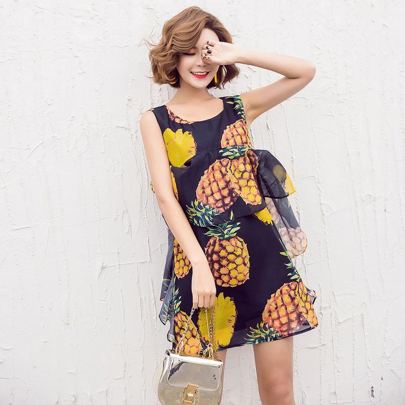 Pembe Sarı Ananas Meyve Baskılı Elbise Şifon Cuit Stil Ruffles Kolsuz O-Boyun Pist Casual Kadınlar Yaz Yelek Elbise