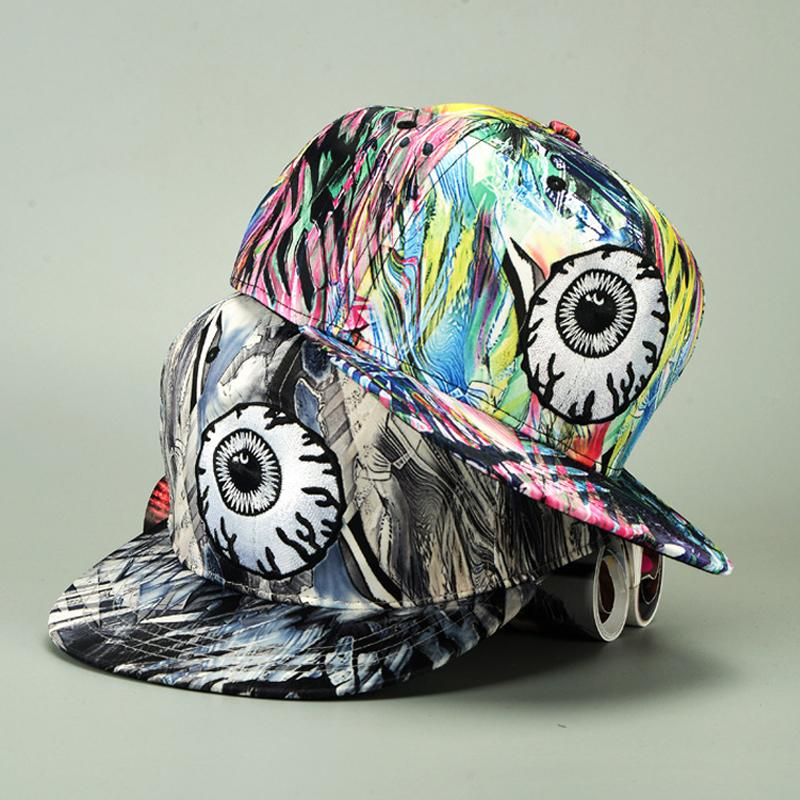 fb45f9f441a65d 2017 Fashion Colorful Graffiti Big Eyes Hip Hop Baseball Caps For Women  Couple Hats Flat Brim Vintage Doodle Hippie Snapback Cap Cool Caps Flat  Brim Hats ...