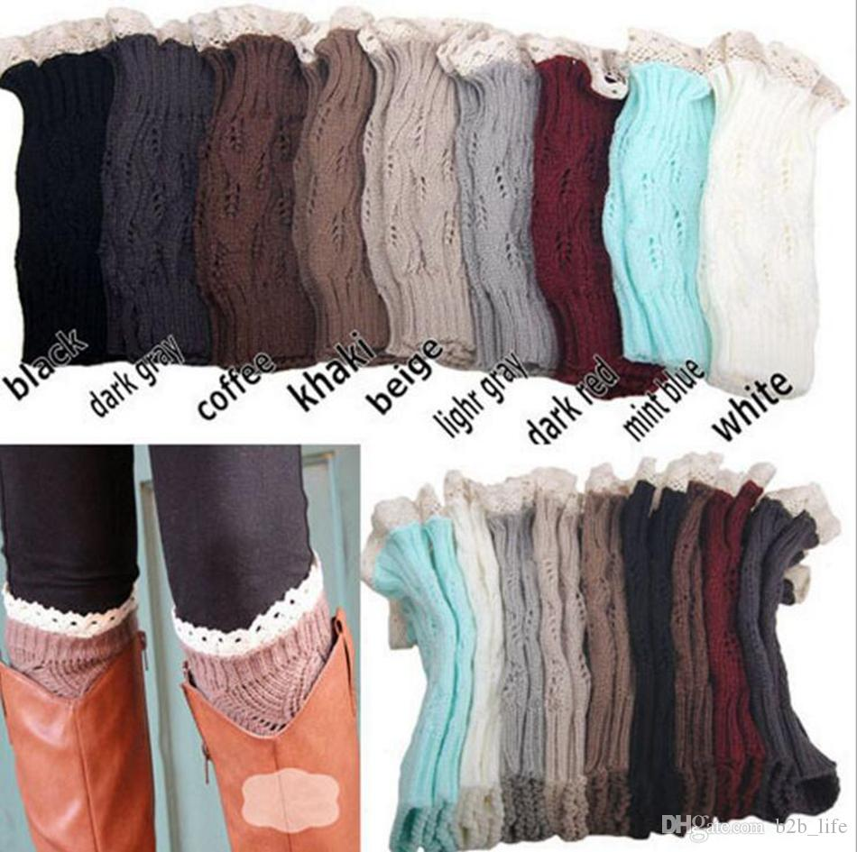 Lace Crochet Beinlinge gestrickt Lace Trim Toppers Manschetten Liner Beinwärmer Boot Socken Kniehohe Trim Boot Legging OOA3862